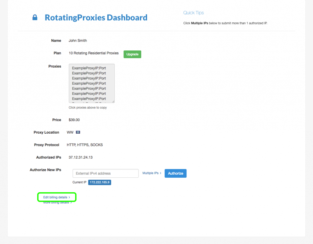 Edit billing details on dashboard